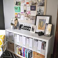 Live Creating Yourself - dens/libraries/offices - white, yellow, ikat, pillow, gray, walls, ikea expedit, expedit bookcase, ikea expedit bookcase, white ikea bookcase, white ikea expedit bookcase, Overstock Office Chair, Ikea Expedit Bookcase, The Container Store Natural Cork Board,