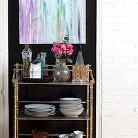 Design Manifest - dining rooms - vintage, bar, cart, black, walls, abstract, canvas, painting, bar cart, gold bar cart, bamboo bar cart, faux bamboo bar cart, gold bamboo bar cart, vintage bar cart,