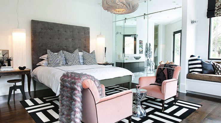 Lucinda Loya Interiors - bedrooms - FLOR Dashed Off- Jailbird Carpet Tiles, built-in, window seat, pink, velvet, tufted, chairs, black, trim, hourglass, tables, tall, gray, tufted, headboard, chandeliers, antique, console, tables, nightstands, industrial, stools, black, white, mitered, pillows, mirrored bedroom, pink and gray bedroom, floor to ceiling mirrors, gray headboard, gray velvet headboard, gray tufted headboard, pink chairs, pink velvet chairs, black and white rug, black and white carpet tiles, tall gray headboard,