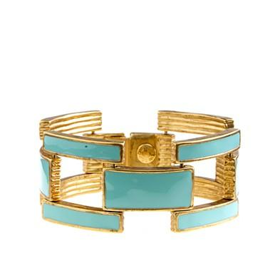 Miscellaneous - Squared enamel-link bracelet - bracelets - Women&#039;s jewelry - J.Crew - creme de menthe, enamel, link, bracelet