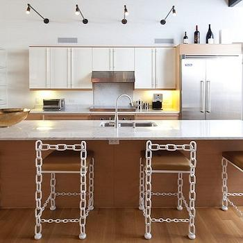 Lucinda Loya Interiors - kitchens - sink in kitchen island, white, chain link, counter stools, brown, leather, seat, cushions, two-tone, kitchen cabinets, marble, countertops, chain link bar stools, chain link counter stools, eclectic bar stools, eclectic counter stools,
