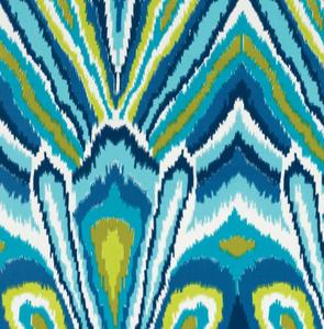 Fabrics - Peacock Print - Pool - trina turk, peacock, print, fabric, pool