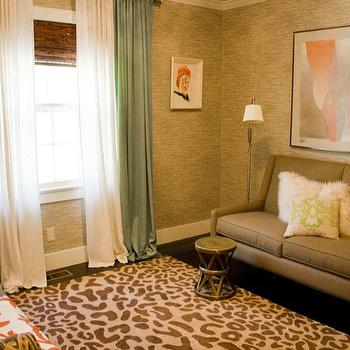Natalie Clayman Interior Design - bedrooms - guest room, leopard rug, brass table, modern art, grass cloth, soft drapes, leopard print, leopard print rug, leopard rug,