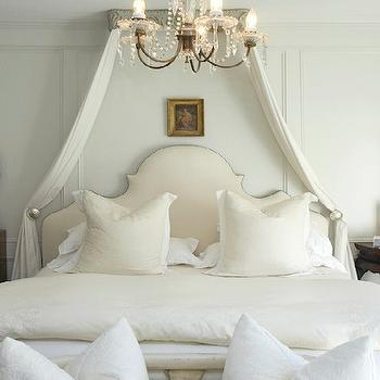 Lucinda Loya Interiors - bedrooms - gray, walls, decorative, wall moldings, linen, headboard, nailhead trim, silk, canopy, alabaster, lamp, mismatched, antique, nightstands, mirror, bed canopy, french bed canopy,