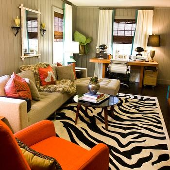 Black and White Zebra Rug, Transitional, den/library/office, Sherwin Williams Dovetail, Natalie Clayman Interior Design