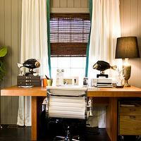 Natalie Clayman Interior Design - dens/libraries/offices - gray walls, modern desk, brass lamp, brass pedestal, pleated drapes with turquoise trim,