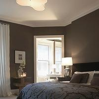 Rees Roberts - bedrooms - chocolate, brown, walls, black, velvet, headboard, brown, purple, bedspread, blanket, pillows, mercury glass, lamps, brown bedroom, dark brown bedroom, chocolate brown bedroom, brown bedroom walls, brown headboard, purple blanket, brown and purple blanket,