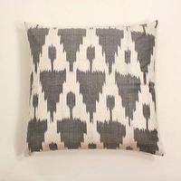 Pillows - Gray Ikat Silk Pillow - gray, silk, ikat, pillow