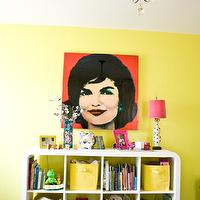 Natalie Clayman Interior Design - girl's rooms - Sherwin Williams - Funky Yellow - children's, girl's room, citron, crystal chandelier, pop art, pink, white bookcase, modern rug,