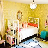 Natalie Clayman Interior Design - girl's rooms - Sherwin Williams - Funky Yellow - children's, girl's room, citron, crystal chandelier, pop art, pink, white bookcase, modern rug, turquoise, draperies, eclectic, wallpaper,