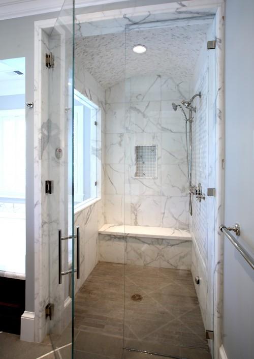 Bathroom Ideas Calcutta Marble : Calcutta marble shower contemporary bathroom markay