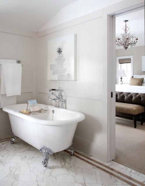 Clawfoot tub transitional bathroom chalet development - Bathrooms with clawfoot tubs ...