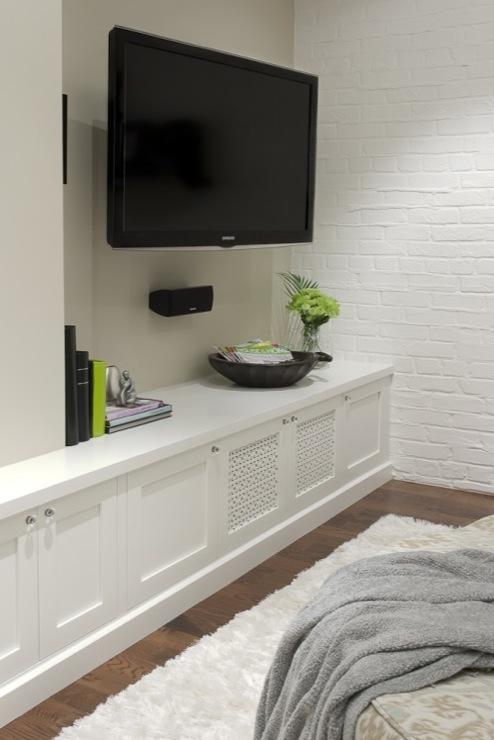 built in low media cabinet transitional media room leslie goodwin photography. Black Bedroom Furniture Sets. Home Design Ideas