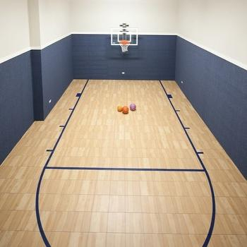 Oakley Home Builders - basements - indoor, basketball court, gray, walls, blue, grasscloth, wallpaper, grasscloth wallpaper, blue grasscloth, blue grasscloth wallpaper,