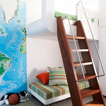 Sarah Davidson Interior Design - boy's rooms - world, map, art, modern, white, bunk, beds, ladder, green, rug, green, brown, stripe, bedding, world map wallpaper, built in bunk bed, bunk bed ladder, World Map,