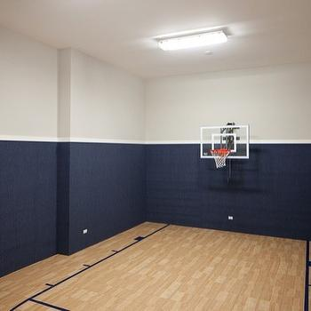 Oakley Home Builders - basements - gray, walls, blue, grasscloth, wallpaper, basketball, court, grasscloth wallpaper, blue grasscloth, blue grasscloth wallpaper,