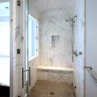 Markay Johnson Construction - bathrooms - mosaic, marble, tiles, curved, ceiling, marble, tiles, shower surround, marble, basketweave, inset tiles, calcutta marble, calcutta marble shower, calcutta marble shower surround, calcutta marble tile shower, calcutta marble tile bathroom,
