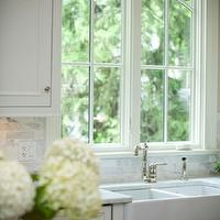 Oakley Home Builders - kitchens - farmhouse sink, white, kitchen cabinets, marble, countertops, butcher block, countertop, peonies,  Lovely kitchen