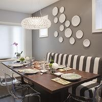 Leslie Goodwin Photography - dining rooms - blue, walls, creamy, charcoal, gray, walls, white, decorative, wall plates, white, gray, striped, banquette, bench, mid-century modern, dining table, gray rooms, gray walls, ikea ghost chairs, ghost chairs ikea, Z Gallerie Jupiter Chandelier, Ikea Tobias Chair,
