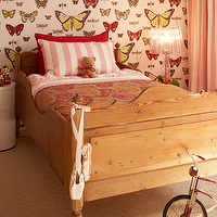 Sarah Davidson Interior Design - girl's rooms - butterfly, wallpaper, two-tone, yellow, pink, silk, drapes, wood, bed, white, pink, striped, sheets, pillows, red, pillow, red, orange, paisley, bedding, jute, diamonds, rug,