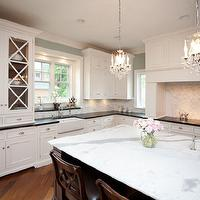 Oakley Home Builders - kitchens - coffee stained, kitchen island, marble, countertop, marble, mosaic, tiles, backsplash, farmhouse, sink, sink in kitchen island, sage, green, walls, white, kitchen cabinets, soapstone, countertops, island chandeliers, kitchen island chandeliers,