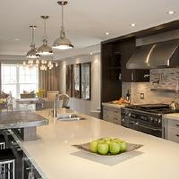 Leslie Goodwin Photography - kitchens - espresso, stained, kitchen cabinets, white, kitchen cabinets, quartz, countertops, sink in kitchen island, mosaic, linear, tiles, backsplash, pot filler, stainless steel, floating shelf, sink in kitchen island, raised, breakfast, bar, black, leather, stools, industrial, pendants,
