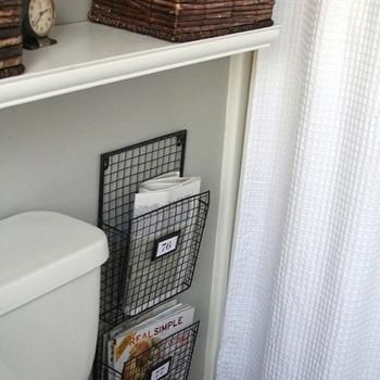Wire Magazine Holders- Cottage, bathroom, Glidden Fossil Grey, 320 Sycamore