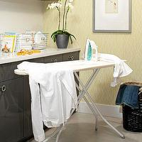 Kelly Deck Design - laundry/mud rooms - orchid, ironing board, yellow, wallpaper, high gloss, charcoal, gray, cabinets, white, quartz, countertops, yellow and gray rooms, gray and yellow rooms, yellow and gray laundry rooms, gray and yellow laundry rooms,