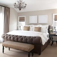 Chalet Development - bedrooms: chocolate, brown, tufted, sleigh, bed, taupe, velvet, drapes, clay, beige, walls, ebony, stained, nightstands, brown, bench, pillows, beige walls, beige paint, beige paint color, beige bedroom walls, beige bedroom paint, beige bedroom paint color,