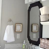 320 Sycamore - bathrooms - gray, walls, white, single, bathroom vanity, Lowes, black, mirror, Lowes, triple, sconces, Home Depot, white, floating shelves, Michael&#039;s, baskets, gray walls, grey walls, gray paint, grey paint, gray paint color, grey paint color, gray wall paint, grey wall paint, gray bathroom walls, grey bathroom walls, gray bathroom paint, grey bathroom paint, gray bathroom paint color, grey bathroom paint color, Benjamin Moore White Dove, Home Depot Pegasus 31 in. W Marble Vanity Top with trough sink and 8 in. Faucet Spread in Carrara, Home Depot Pegasus 20 in. W Marble Side Splash in Carrara, Home Depot Glacier Bay Lyndhurst 8 in. 2-Handle Lavatory Faucet in Brushed Nickel,