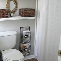 320 Sycamore - bathrooms - gray, walls, Home Depot, white, floating shelves, glass, canisters, HomeGoods, gray, white, Moorish, tiles, towels, T.J. Maxx, wire, wall, magazine racks, Michael&#039;s, baskets, Target White Waffle-Weave Fabric Shower Curtain,