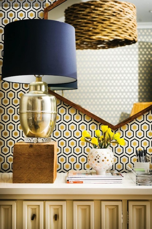 Pieces Inc - dens/libraries/offices - David Hicks Hexagon Wallpaper, Oversized Vine Pendant: Natural, mercury glass, lamp, ivory, lacquer, cabinet, wood hexagon mirror, hicks wallpaper, hicks hexagon wallpaper, david, david hicks hexagon wallpaper, hicks hex wallpaper,