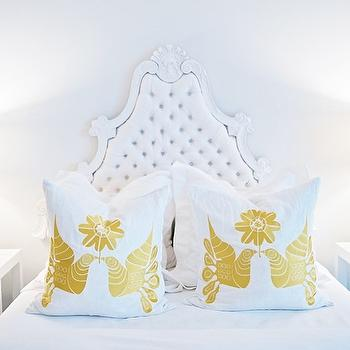Pieces Inc - bedrooms - white, yellow, kissing, birds, pillows, white, tufted, Hollywood Regency, bed, white, Parsons, tables, nightstands, glossy yellow lamps, baroque headboard, white baroque headboard, tufted headboard, white tufted headboard,