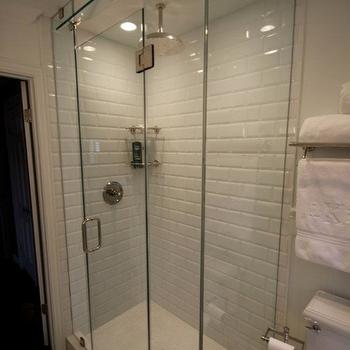 bathrooms - small shower white bathroom restoration hardware subway tile beveled subway tile rain shower head rain showerhead kohler toilet polished nickel marble Carrara marble glass shower frameless shower shower bathroom small bathroom sherwin williams hexagon tile, beveled subway tile, beveled subway tile shower, white beveled subway tile, beveled subway tile shower, beveled subway tile bathroom,