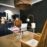 Pieces Inc - dens/libraries/offices - black, textured, wallpaper, actylic, lucite, base, glass-top, desk, black, cabinet, wood lamps, round, mirror, tall, wicker, chairs, louis, chair, lucite desk, Oversized Vine Pendant,