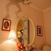 girl's rooms - peter pan, shadow, ceiling, pink, wallpaper, oval, mirror, ivory, chest, Louis, chair, peter pan silhouette,  via Pinterest  Scary