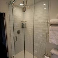 bathrooms - Sherwin Williams - pure white - small shower white bathroom restoration hardware subway tile beveled subway tile rain shower head rain showerhead kohler toilet polished nickel marble Carrara marble glass shower frameless shower shower bathroom small bathroom sherwin williams hexagon tile, beveled subway tile, beveled subway tile shower, white beveled subway tile, beveled subway tile shower, beveled subway tile bathroom,
