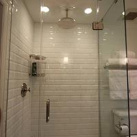 bathrooms - small shower, white bathroom, restoration hardware, subway tile, beveled subway tile, rain shower head, rain showerhead kohler toilet, polished nickel, marble, Carrara marble, glass shower, frameless shower, shower, bathroom, small bathroom sherwin williams hexagon tile, kosarek, beveled subway tile, beveled subway tile shower, white beveled subway tile, beveled subway tile shower, beveled subway tile bathroom, brick pattern bathroom brick pattern tiles, brick tile bathroom tiles,