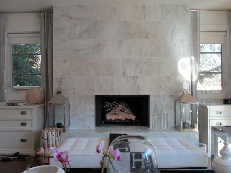 Modern Marble Fireplace - Contemporary - living room - Moth Design