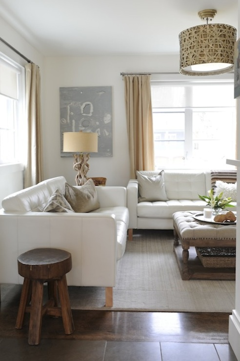 White Leather Tufted Sofa - Transitional - living room ...