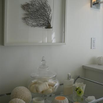 Moth Design - bathrooms - seafan, framed, white, shadow box, glass, canisters, candles, Pottery Barn, bar cart, sea fan, seafan, sea fan coral, seafan coral, framed sea fan, framed seafan, frames sea fan coral, framed seafan coral, sea fan art, seafan art, framed sea fan art, framed seafan art,
