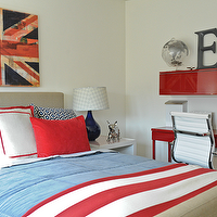 Moth Design - boy's rooms - glossy, red, lacquer, desk, floating shelf, Costco, Eames, replica, chair, navy blue, gourd, lamp, Union Jack, flag, art, white, red, striped, bedding, blue, geometric, pillows, Crate and Barrel Tattersall Bed, Costco Eames Replica Chair,