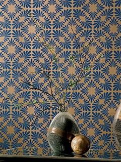 Wallpaper - Textured Geometric Design Wallpaper in Blues and Metallic by Antonina Vella - Seabrook Designs - textured, metallic, geometric, wallpaper