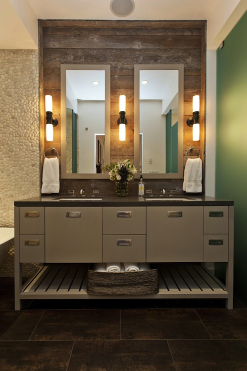 Fiorella Design - bathrooms - Restoration Hardware Cade Double Sconce - Oil-Rubbed Bronze, Walker Zanger Zen Garden Timore Tiles, pebble, tiles, backsplash, taupe, gray, double bathroom vanity, mirrors, double sinks,