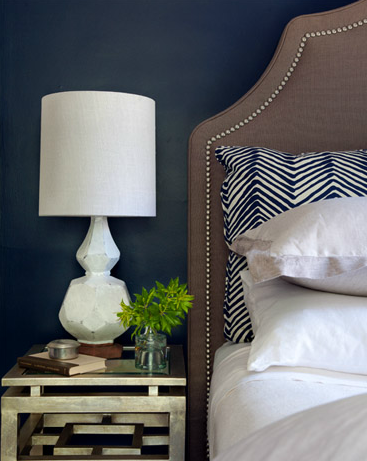 Lauren Nelson Design - bedrooms - Quadrille Fabrics Alan Campbell Zig Zag Navy on Tint, West Elm Terracotta Table Lamp, navy, blue, walls, antique, mirrored, nightstand, brown, linen, headboard, nailhead trim, brown and blue bedroom, navy blue walls, dark blue walls, dark blue bedroom walls, brown headboard, studded headboard,