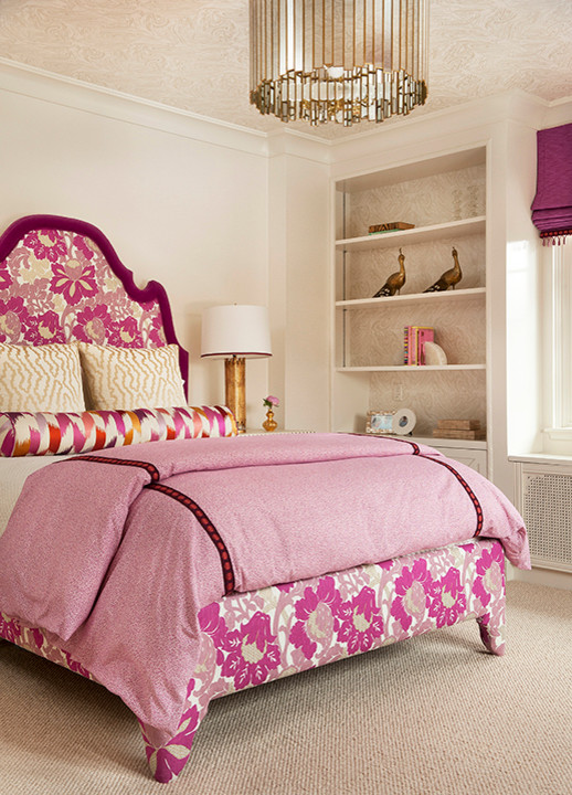 Lauren Nelson Design - girl's rooms - Oly Studio Grayson Chandelier, purple, roman shade, pink, purple, floral, fabric, upholstered, bed, pink, duvet, silk, pink, purple, bolster, pillow, yellow, pillows, built-ins, damask, wallpaper, pink girls room, pink girls bedroom,