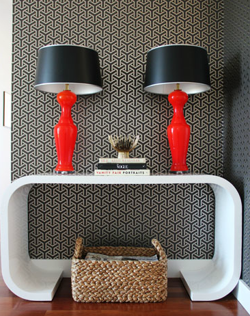 Suzie: Lauren Nelson Design - Chic red & black foyer design with black geometric wallpaper, ...