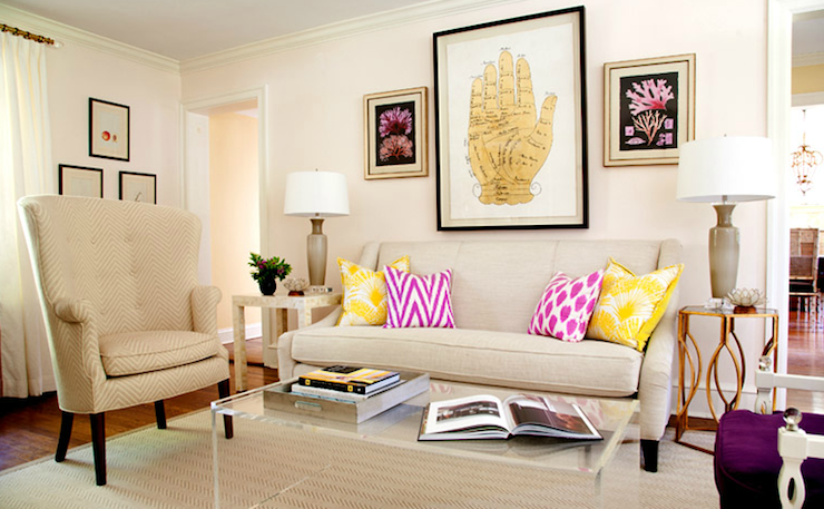 Suzie: Lauren Nelson Design - Chic living room with pale, pale pink wall spaint color, mushroom ...