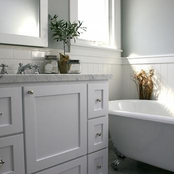 Fiorella Design - bathrooms - clawfoot, tub, chair rail, beadboard, backsplash, white, wood, framed, mirrors, white, double bathroom vanity marble, countertop, gray, green, walls, subway tiles, backsplash,