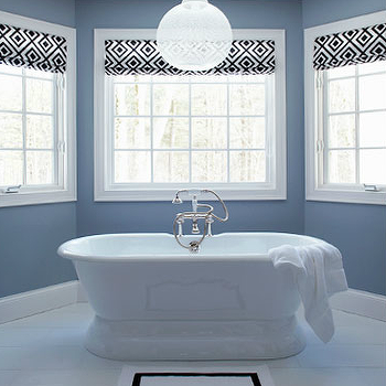 Lauren Nelson Design - bathrooms - custom, roman shades, bay windows, freestanding, tub, geometric roman shades, bathroom roman shades, La Fiorentina roman shades, David Hicks La Fiorentina, Waterworks Sahara Bath Rug,